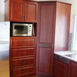 dark wood kitchen drawers microwave
