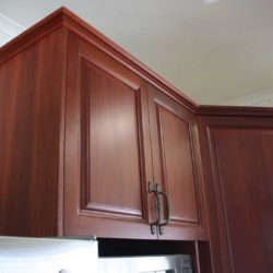 dark wood kitchen cupboards