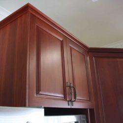 dark wood kitchen cupboards
