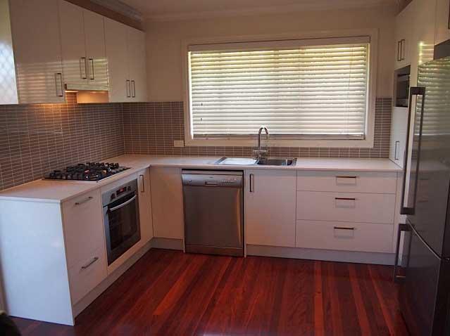 finished kitchen white stove
